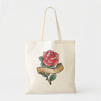 Rose tattoo design old school style tote bag