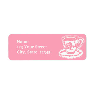 Rose Teacup Pink and White Return Address Labels