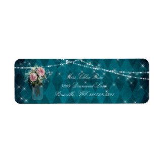 Rose Twilight Jar Sparkle Vintage Diamond Blue Return Address Label