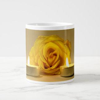 rose two candles bright yellow flower jumbo mug