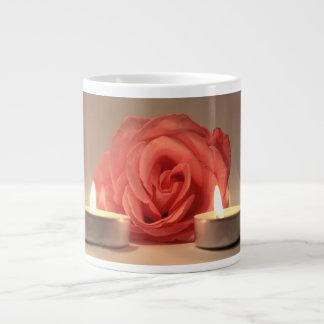 rose two candles pink floral photo jumbo mug