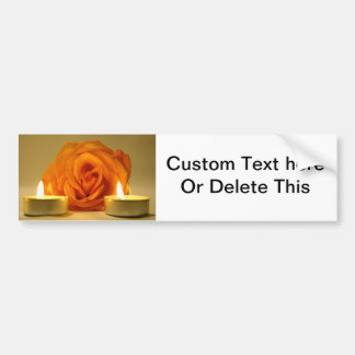 rose two candles yellow orange floral flower image bumper sticker