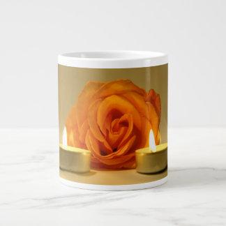 rose two candles yellow orange floral flower image jumbo mug