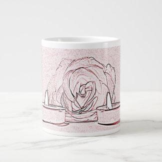 Rose, two tea light candles, done in black n pink jumbo mug