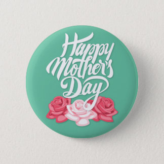 rose typography mother day 6 cm round badge