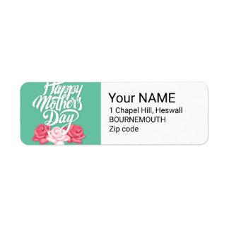 rose typography mother day return address label