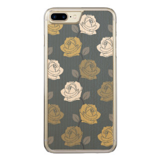 Rose Vine Pattern Blues Golds White Carved iPhone 7 Plus Case