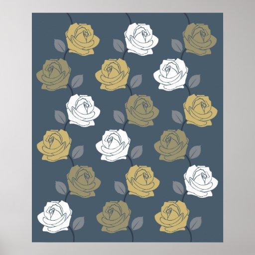 Rose Vine Pattern Blues Golds White Print
