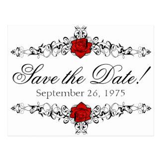 Rose Vine Wedding Save the Date Postcard