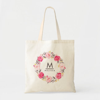 Rose Watercolor Monogram Floral Stylish Modern