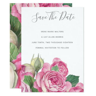 Rose Watercolor Save The Date Card