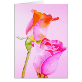 Rose Watercolour Painting Blank Note Card