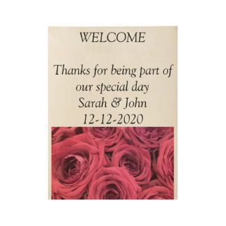 Rose wedding theme welcome poster