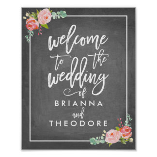 Rose Welcome Wedding Sign Poster