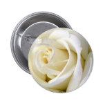 Rose White 6 Cm Round Badge