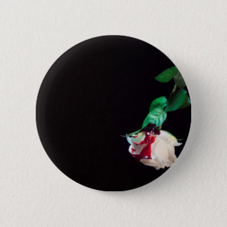 Rose white blood red side 6 cm round badge