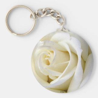 Rose White Basic Round Button Key Ring