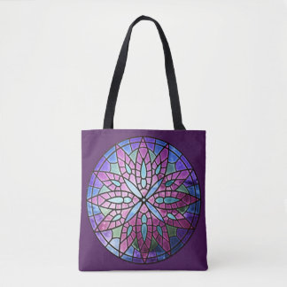 Rose Window - Purple All-Over-Print Tote Bag