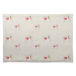 Rosé wine and champagne glasses pattern placemat