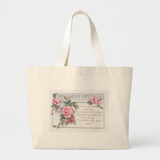 Rose Wishbone New Year's Jumbo Tote Bag