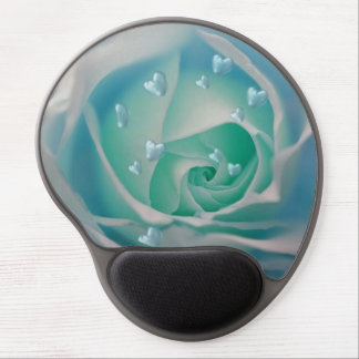 rose with hearts aqua gel mouse mat