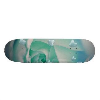 rose with hearts aqua skate deck