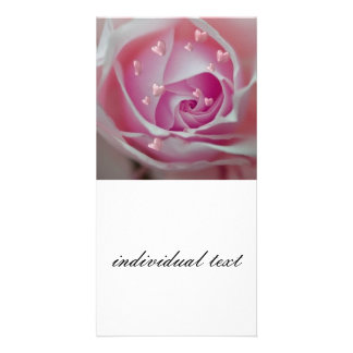 rose with hearts pink customized photo card