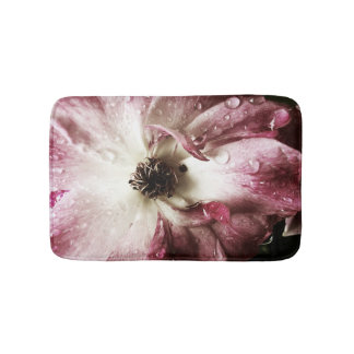 Rose with raindrops bath mat