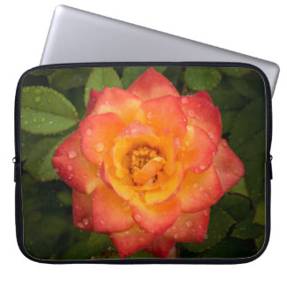 Rose with water droplets laptop sleeve