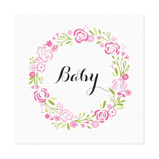 Rose wreath art- Customize with your name/monogram Canvas Print