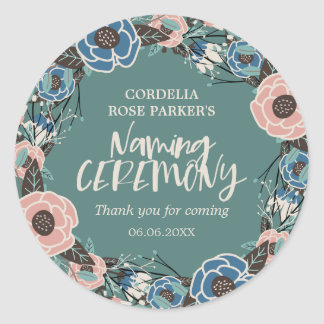 Rose Wreath | Thank You Naming Ceremony Round Sticker