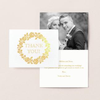 Rose wreath wedding Thank you photo Foil Card