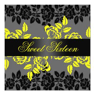 Rose Yellow/Black & Gray Sweet 16 Birthday Invite