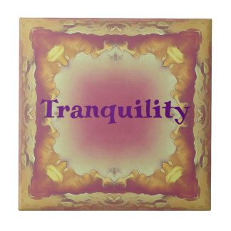 Rose Yellow Peach Framed 'tranquility ' Ceramic Tile