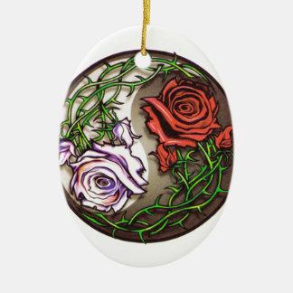 Rose yingyang tattoo design ceramic ornament
