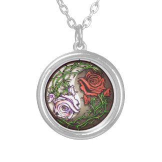 Rose yingyang tattoo design silver plated necklace