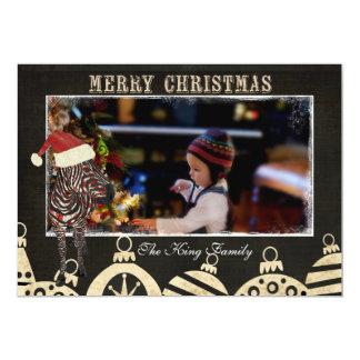 Rose Zebra Black & Ivory Christmas Photo Card 13 Cm X 18 Cm Invitation Card