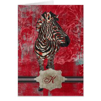 Rose Zebra Monogram Notecard Greeting Cards
