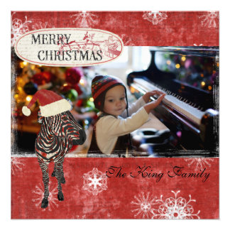 Rose Zebra Red Christmas Photo Card