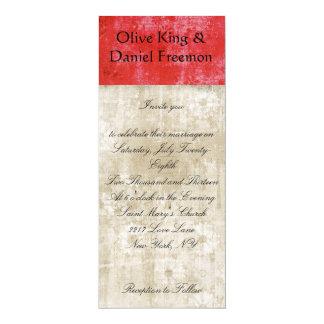 "Rose Zebra Red & White Floral Wedding Invitation 4"" X 9.25"" Invitation Card"