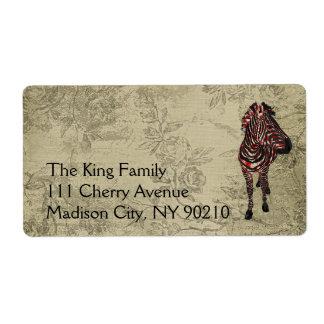 Rose Zebra Vintage   Label Shipping Label