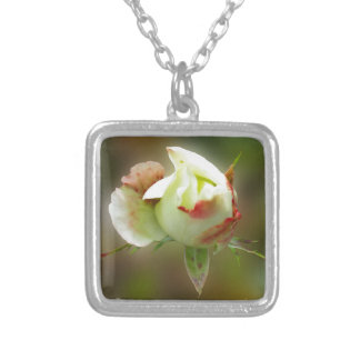 rosebud glowing silver plated necklace