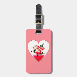 Rosebud heart luggage tag