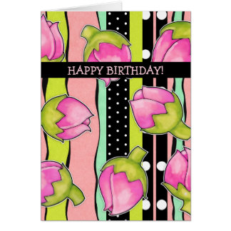 Rosebud Joy color pattern Birthday Card
