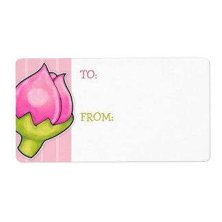 Rosebud Joy pink Gift Tag Sticker Shipping Label
