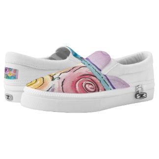 Rosebud Pattern Slip On Sneakers