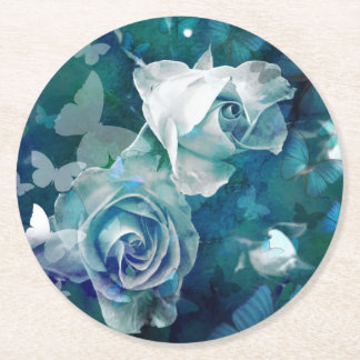 Rosebuds with butterflies round paper coaster
