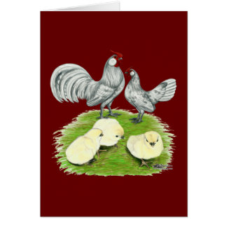 Rosecomb Bantams and Chicks Card