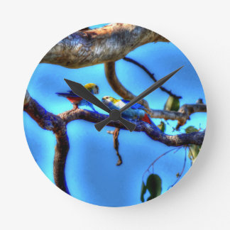 ROSELLA'S IN A TREE AUSTRALIA WITH ART EFFECTS WALL CLOCKS