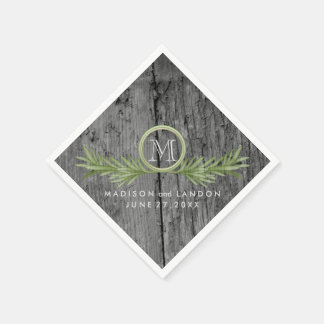 Rosemary and Rustic Wood Wedding Disposable Napkins